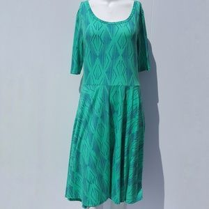LuLaRoe | Green & Blue Nicole Midi Dress size XL